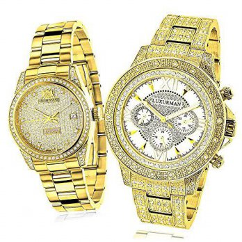 [macyskorea] His and Hers Watches: Classic Luxurman Diamond Watch Set 2.75ct/15781552