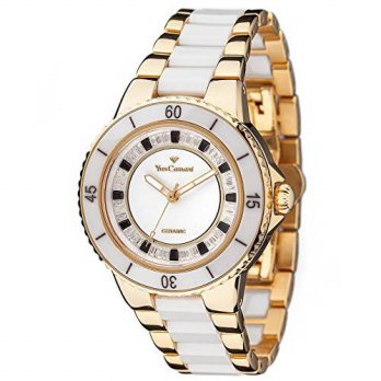 [macyskorea] YvesCamani Yves Camani Sienne Ladies Watch White/Gold Ceramic/Stainless Steel/15781375