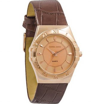 [macyskorea] Daniel David Womens | Rose Gold Engraved Brown Textured Leather Watch | DD132/15781376