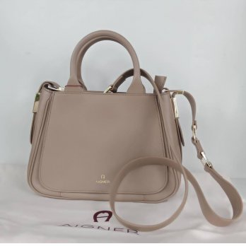TAS WANITA AUTHENTIC AIGNER VITTORIA MEDIUM SATCHEL HANDLE BEIGE BAG