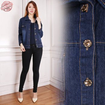 Cj collection Jaket jeans atasan outwear wanita jumbo jacket Marini