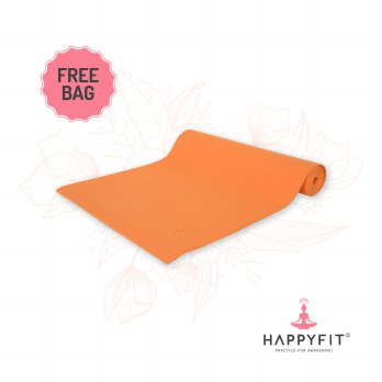HAPPYFIT MATRAS YOGA 6MM ORANGE (GRATIS TAS)/PVC MAT(FREE BAG)