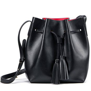 [macyskorea] Kattee Womens Leather Bucket Crossbody Bag Tassel Drawstring Shoulder Bag/14297728