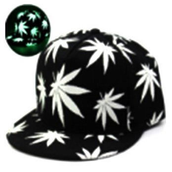 Topi Baseball Snapback Glow in the Dark Luminous Maple Leaf - Black