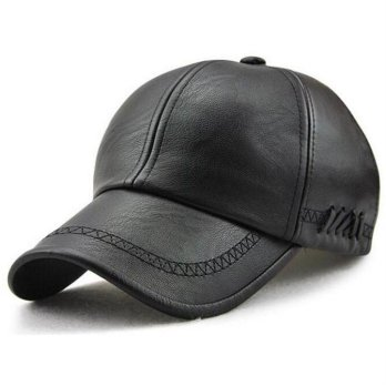Topi Baseball Aksen Kulit Faux Leather Caps - Black