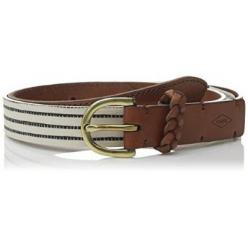 [Macyskorea] Fossil Womens Stripe Printed Belt, White / Tan, Medium / 10914917