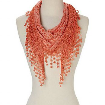 [macyskorea] Tans Women Lightweight Triangle Leopard Floral Cotton Scarf with Fringes (Ora/15767574