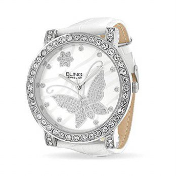[macyskorea] Bling Jewelry Womens CZ Flower Butterfly White Leather Stainless Steel Back W/15866943