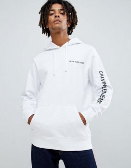 Calvin Klein Jeans hoodie with chest and sleeve logo print white