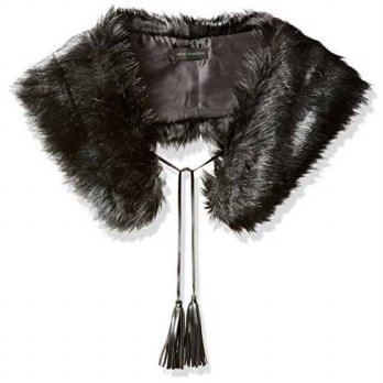 [macyskorea] Steve Madden Womens Silky Faux Fur Collar with Tasslels, black, One Size/15767412