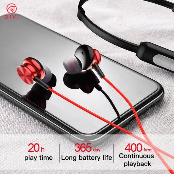 Bluetooth Sporty Neckband Ear phone DIVI E-606 with Noise Cancelling