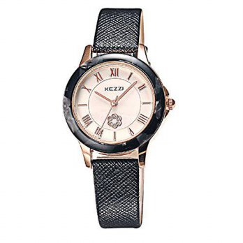 [macyskorea] Kezzi Women Girls Black Genuine Leather Analog Wristwatch with Marbleized Rim/16147289