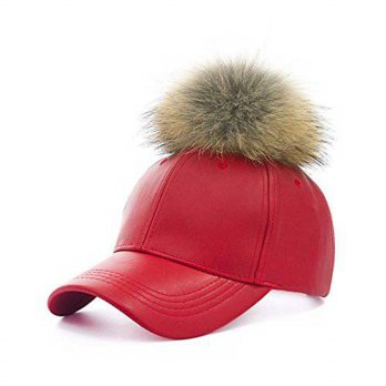 [macyskorea] Crazyhat Womens Faux Leather Pom Pom Baseball Cap Adjustable Leather Hat (red/14943081