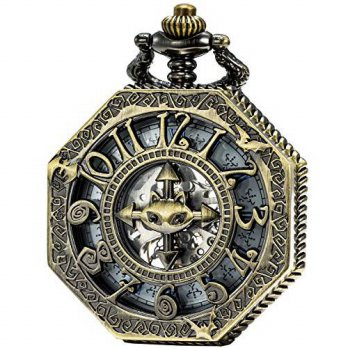 [macyskorea] SEWOR Bat Style Octagon Bronze Skeleton Pocket Watch Steampunk Mechanical Han/16145703