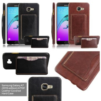 Samsung Galaxy A7 A710 (2016) Leather Textured Standing Hard Case Casing Cover with Card Slot