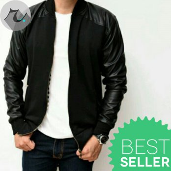 Jaket Semi Kulit Sintetis Pria Kombinasi Fleece Dark Night