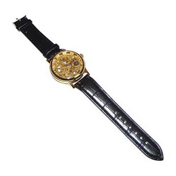 [macyskorea] Rose Mens Black Leather Strap Mechanical Goldtone Dial Quartz Movement Water /16145216