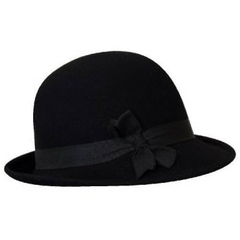 [macyskorea] JJ Collection Womens Wool Felt Cloche Hat, Satin Rim Around, Black/15836756