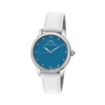 [macyskorea] Porsamo Bleu Gemma Genuine Leather Womens White Turquoise & Diamond Watch 731/16134311