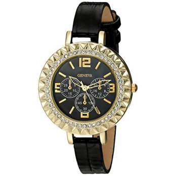 [macyskorea] Geneva Womens FMDJT104C Analog Display Japanese Quartz Black Watch/16145551