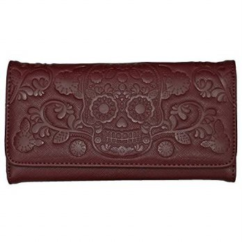 [macyskorea] Loungefly Embossed Day of the Dead Sugar Skull Vegan Burgundy Checkbook Walle/15889291