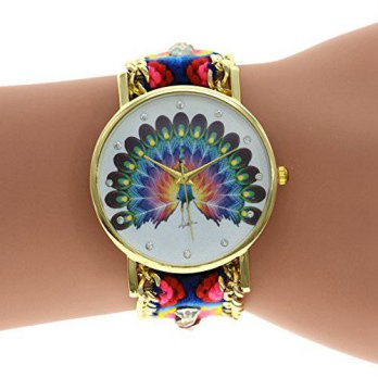 [macyskorea] LinTimes 3D Adjustable Woven Strap Bracelet Watch with Peacock Clock dial/16133544