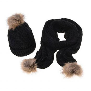 [macyskorea] Jelinda Women Autumn Winter Knitted Hat and Scarf Set (Black)/15889894