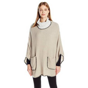 [macyskorea] Steve Madden Womens Plush Turtleneck Poncho with Whipstitch, Ivory, One Size/16002797