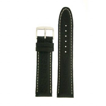 [macyskorea] Extra Thick Padded Watch Band Genuine Leather Black 18 millimeters White Stit/15712601