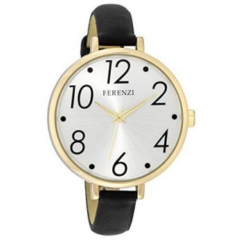 [macyskorea] Ferenzi Womens | Large Modern Easy Read Silver Face Thin Black Band Watch | F/15778894