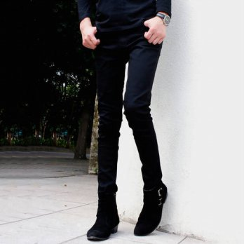 [globalbuy] New Arrival Men`s Black Super Skinny Jeans Little Stretchy Elastic Slim Fit Pe/4204324