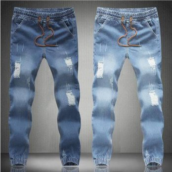 [globalbuy] P99Classic Mens Joggers Light Blue Biker Denim Pants Male Elastic Waist Drawst/4203914
