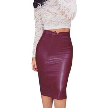 [globalbuy] Fashion PU Leather Skirts Women Sexy Slim Pencil Skirt Womens Brand New High W/4198205