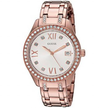 [macyskorea] GUESS Womens U0848L3 Sporty Rose Gold-Tone Watch with Silver Dial , Crystal-A/15779193