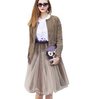 [globalbuy] Sexy High Waist Pleated Skirt Women Gauze Tutu Knee Length S-XL Size/4198218