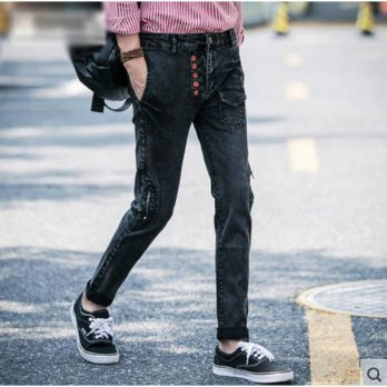 [globalbuy] 2016 Plus Size Summer Jeans Male Slim Casual Mid Waist Long Trousers Denim Pen/4203864