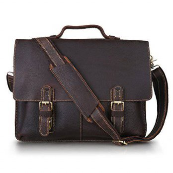[macyskorea] Kattee Leather Twin Buckle Mens Messenger Bag, Dark Brown, Medium/14762354