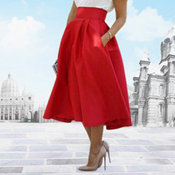 [globalbuy] 2016 Womens Fashion Summer Wedding Party High Waist A Line Pleated Midi Skirt /4198171