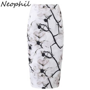 [globalbuy] Neophil Floral Print Ink Painting White High Waist Sexy Bodycon Midi Pencil Sk/4198168