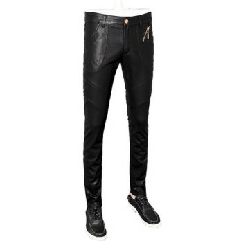 [globalbuy] new 2016 mens leather pants slim fit faux leather skinny trousers pantalon hom/4203836