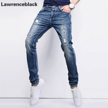 [globalbuy] Biker Jeans Mens Slim Straight Skateboard Pants Blue Color Classic Denim Jeans/4203820