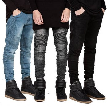 [globalbuy] Streetwear Mens Ripped Biker Jeans Homme Mens Fashion Motorcycle Slim Fit Blac/4203767