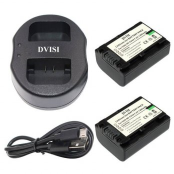 [globalbuy] 2Pcs NP-FV50 NPFV50 Battery + USB Dual Charger for Sony NP-FV30 NP-FV40 HDR-CX/3688526