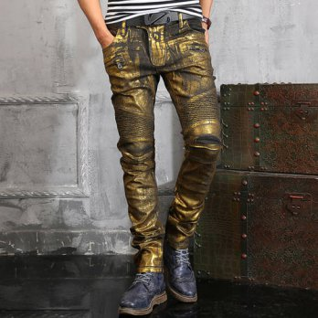 [globalbuy] NWT BP Mens Jenas Fashion Runway Shiny Golden Coated Oiled Stretch Slim Black /4203788