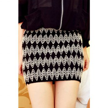 [globalbuy] New 2015 Fashion summer women skirt Sexy Vintage Wave Embroidery Knit Package /4198127