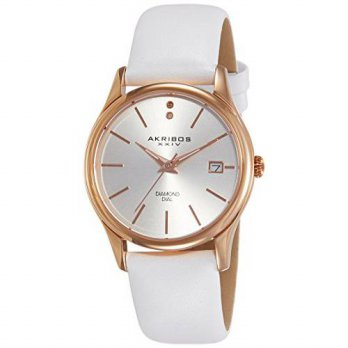 [macyskorea] Akribos XXIV Womens AK879WTR Quartz Movement Watch with Silver Dial and White/15779026