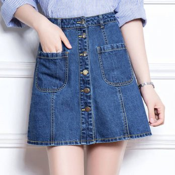 [globalbuy] Metal button placket short skirt female Denim plus size skirts womens 2016 hig/4198077