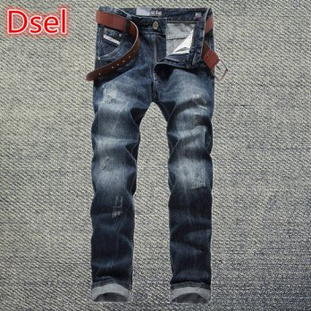 [globalbuy] Dsel brand denim trousers mens biker jeans classical blue color straight jeans/4203680