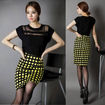 [globalbuy] 2014Hot Sale Fashion Plaid Skirts Womens High Waist Long Pencil Skirt Female C/4198034