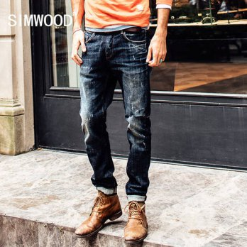 [globalbuy] Simwood Male fashion Hole Decorated Denim Jeans Personality Cowboy Long Pant S/4203662